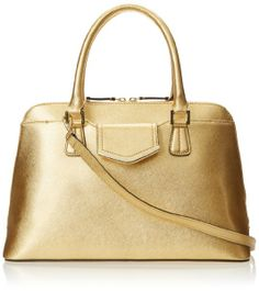 Calvin Klein On My Corner Metallic Saffiano Satchel Top Handle Bag
