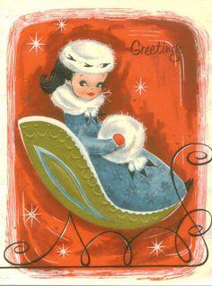 Christmas Card, Vintage, Sweet Girl in Sleigh, Greetings