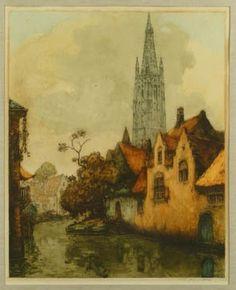 Eau-forte - Canaux de Bruges - de VAN NESTE Alfred (1874, 1969)