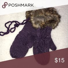 Purple knitted fur cuff string sweater mittens Purple knitted fur cuff string sweater mittens. New. Purple cableknit stitch sweater mittens are lined for warmth and have faux fur brown cuff.  Remember when you were a kid & your mittens had a long attached string that went through your coat sleeves & you could take them off when your hands got hot without losing them? These mittens have the long string! You won't lose these! Why should kids have all the fun? These are adult size mittens for…