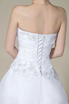 Graceful Strapless Beading Lace-Up Court Train A-Line Wedding Dress 6