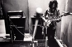 """Jimmy Page while the recording of """"What Is And What Should Never Be"""", at Olympic Studios, London, 1969."""