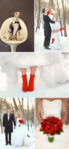 super cute, usually blue for a winter wedding but I really like the red