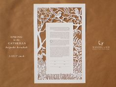 https://flic.kr/p/rgW8hL | Spring in the Catskills heirloom papercut ketubah | Handmade papercut, custom design  Another oldie from 2013 that I found in my folder. The couple wanted something a bit rustic reminiscent of another custom design I made that year, but with more bare branches.   Size: 11X17""