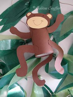 Monkey 6 More- Affe 6 Mehr Monkey 6 More - Kids Crafts, Animal Crafts For Kids, Family Crafts, Cute Crafts, Art For Kids, Safari Party, Safari Theme, Jungle Theme, Cardboard Tube Crafts