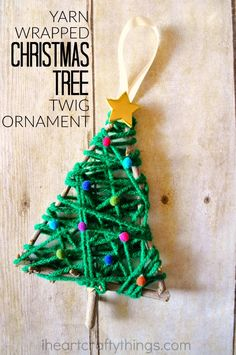 Go on a nature walk and gather some twigs to make this pretty yarn wrapped Christmas tree twig ornament. It makes a fun preschool Christmas craft.