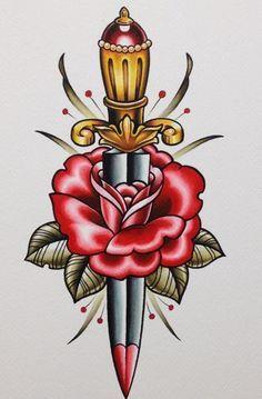Old school dagger flash art.