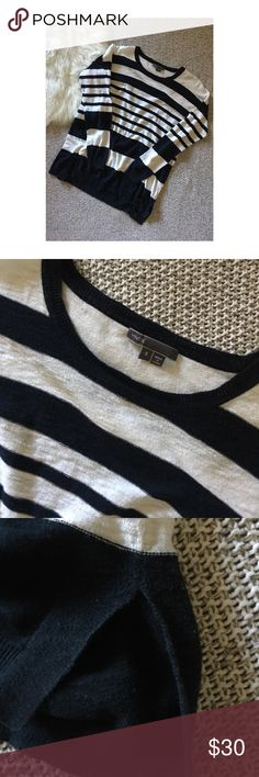 Vince Sweater Vince light weight sweater. White with navy blue stripes. Gently worn. Perfect for fall. Size small. Vince Tops Tees - Long Sleeve