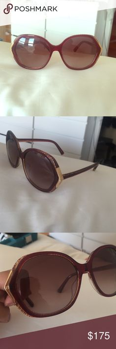 Fendi Havana Sunglasses - FS5211 These '60s style, Jackie O-esque sunglasses are perfect for a summer cool vibe. They are Burgundy with golf details. Plastic/enamel frames and stems with solid red and then mini interlocking fendi logos. Does not come with the original cases but they are in PERFECT mint condition. No trades but willing to negotiate! Fendi Accessories Sunglasses