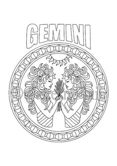 Coloring Page with pattern and zodiac sign Libra in