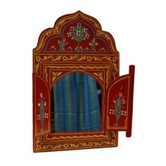 Moroccan wall mirror w/doors hand painted arabesque handmade home decor red Handmade Home Decor, Handmade Decorations, Hanging Decorations, Wall Mounted Mirror, Wall Mirror, Window Mirror, Arabesque, Moroccan Mirror, Mirrors Wayfair