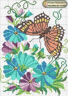 Бабочки - схемы вышивки крестом
