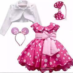 Vestido Minnie Rosa Pink Festa Luxo Minni E Mini E Bolero - R$ 129,90