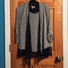 Cardigan Black sheer trimmed Cardigan. Size Large. Excellent, like new condition. Sweaters Cardigans