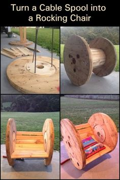 Got an unused cable spool? Why not turn it into a rocking chair!