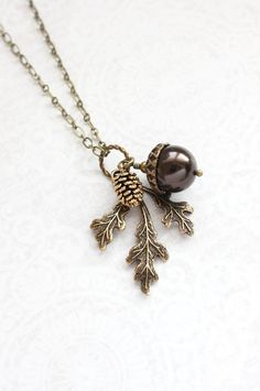 Brown Pearl Pendant Necklace Pearl Acorn Charm Nature Inspired Pinecone Branch Leaf Rustic Oak Woodland Wedding Autumn Jewelry Bridesmaids $32.00