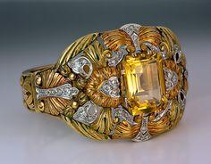 Art Nouveau Exceptional Vari-Color Gold Bracelet c. 1910 - Antique Jewelry | Vintage Rings | Faberge Eggs