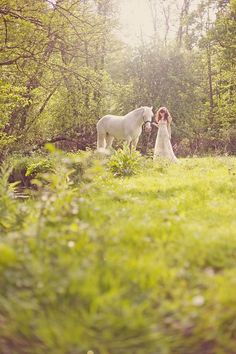 Bride in Woodland with White Horse http://vintagetearoses.com/wild-woodland-wedding-inspiration/