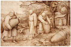 Bruegel will have found a special attraction in the opportunity offered him by the beekeepers of portraying them as anonymous, faceless people. Description from all-art.org. I searched for this on bing.com/images