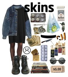 """Skins"" by dementedaggression ❤ liked on Polyvore featuring Wolford, Organic by John Patrick, Dr. Martens, MLC Eyewear, In God We Trust and Aesop"
