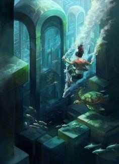 submerged_city_by_juliedillon - Digital Art by Julie Dillon