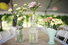 simple wildflower table decorations for wedding reception - Google Search