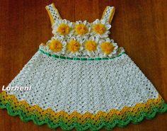 Todo crochet: Bellísimo Solero con margaritas para niña