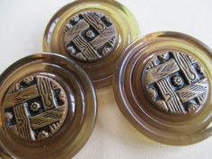 3 UNUSUAL EXTRA LARGE VINTAGE BUTTONS CELLULOID & METAL 42 mm. noelhumphrey on eBay.co.uk