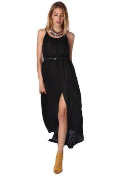 Black front detail lurex maxi dress