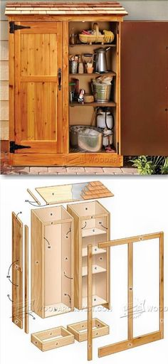 My Shed Plans - A Wooden Storage Cabinet with Shelves - Now You Can Build ANY Shed In A Weekend Even If You've Zero Woodworking Experience! Small Shed Plans, Small Sheds, Storage Shed Organization, Storage Shed Plans, Garden Storage Cabinet, Workshop Organization, Yard Sheds, Diy Rangement, Wood Shed