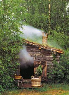 "a ""savusauna"" -- a smoke sauna. Smoke saunas have experienced great revival in recent years since they are considered superior by the connoisseurs. They are not, however, likely to replace all or even most of the regular saunas because more skill, effort Saunas, Sauna Health Benefits, Outdoor Sauna, Finnish Sauna, Little Cabin, Cabins And Cottages, Log Cabins, Tiny Cabins, Cabins In The Woods"