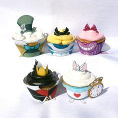 Alice in Wonderland - Inspired Printable Cupcake Wrapper SET (Instant Download) on Etsy, $15.00