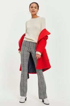 PETITE Checked Flared Trousers