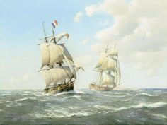 The British brig-sloop Suffisante closing the French brig-corvette Revanche after a chase, 27th May 1796. Artist Derek George Montague Gardner