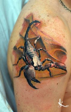 http://tattooideas247.com/3d-scorpion-tattoo/ 3D Scorpion Tattoo #3D, #3DAnimals, #Scorpion, #Shoulder