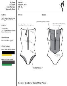This is a tech pack for a collection of six swimsuits. Construction details are highlighted and zoom views are included of important features of the design. Flat Drawings, Flat Sketches, Technical Drawings, Fashion Flats, Diy Fashion, Fashion Design, Paper Fashion, Fashion Sketchbook, Fashion Sketches