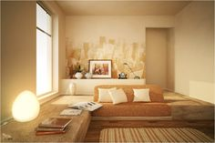 "love soft ""tone on tone"" wall mural. Need to paint one on the main wall in our bedroom."