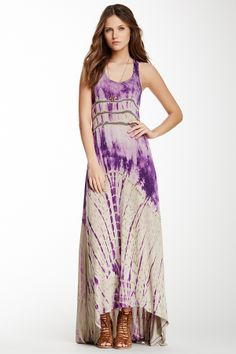 Go Couture Racerback Hi-Lo Maxi Dress, great design and lovely color