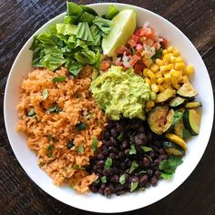 Veggie Burrito Bowl with Mexican Rice Veggie Burrito Bowls Save Print Prep time 30 mins Cook time 30 mins Total time 1 hour A simple hear Mexican Rice Recipes, Rice Recipes For Dinner, Whole Food Recipes, Diet Recipes, Vegetarian Recipes, Cooking Recipes, Healthy Recipes, Vegan Vegetarian, Vegan Meals
