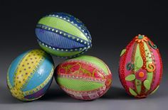 Bright paper and ribbon DIY Easter eggs.... http://modpodgerocksblog.com/2012/03/bright-paper-and-ribbon-eggs.html#