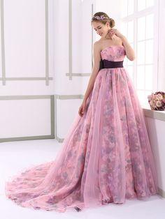カラードレス エンパイア 取り外し式リボン ビスチェ 濃いピンク プリントオーガンジー JUL015004