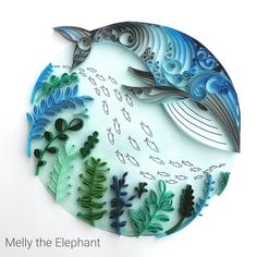 """1,299 Likes, 82 Comments - Meloney Celliers (@melly_the_elephant) on Instagram: """"Quilled whale #quilling #papercutting #paperflowers #paperart #whale #whaleart #lgenpaper…"""""""