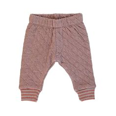 This comfy baby pant is made with double-faced organic cotton jersey blend.    Diamond quilt   Ribbed striped cuffs at leg opening.   Socially and environmental