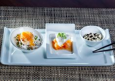This healthy dish comes from the award-winning Tao restaurant at The BodyHoliday in St Lucia - Scallop on rice noodles, a gluten free lobster ravioli and cauliflower puree with dehydrated olive powder
