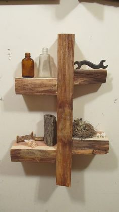 live edge wall shelf by totemwoodworks on Etsy, $60.00