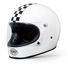 "The retro full face ""Trophy"" by PREMIER in white-glossy with checker stripes and clear flat visor. ECE homologation."
