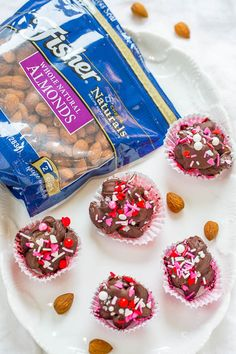 Valentine Chocolate Almond Clusters - You don't need a box of chocolates for Valentine's Day when you can have these!! Easy, no-bake, ready in 15 minutes, and homemade always tastes better!!