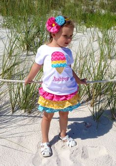 Girls monogrammed chevron ice cream applique outfit by SewChristi, $52.00