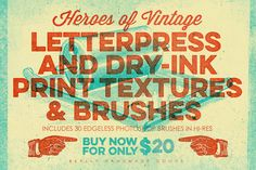 Letterpress & Dry-Ink Print Textures by ThunderPixels Store on Creative Market