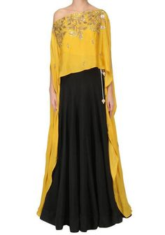 Beautifull Indian Ethnic Stylish Party Wear Bollywood Style Cape Dress with Lovely Embroidery on it Moda Abaya Fashion, Indian Fashion, Fashion Dresses, Western Dresses, Indian Dresses, Cape Dress, New Dress, Indian Designer Outfits, Designer Dresses